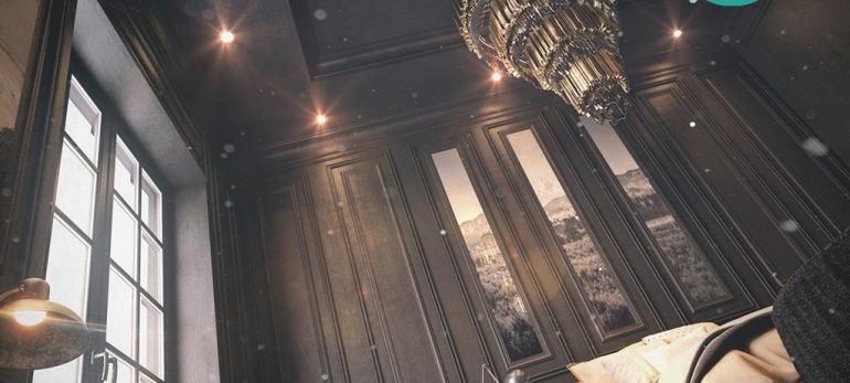 دکوراسیونی متفاوت با استفاده از رنگ سیاه برای سقف
