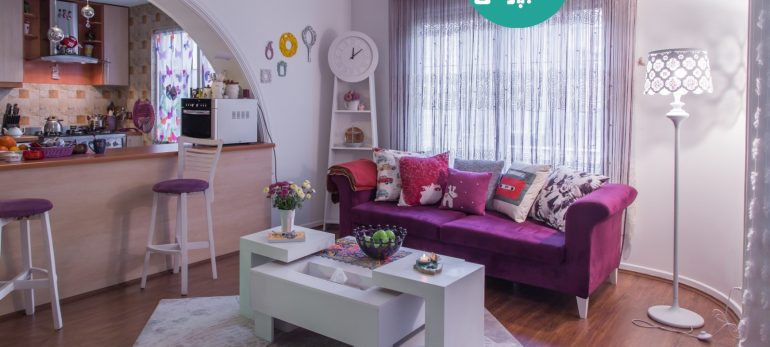 طراحی داخلی منزل با استفاده از رنگ بنفش بادمجانی