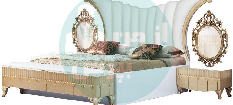 اتاق خوابی مدرن با پاف تخت خواب